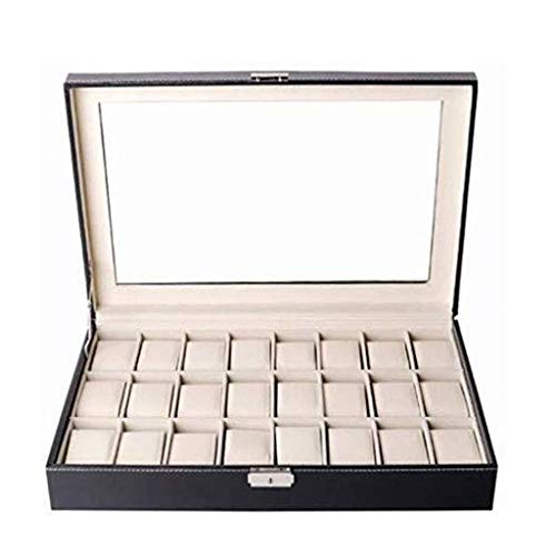 qwertyuio Watch Boxes for Men Jewelry Box - Leather Multi-Position Storage Box 24 Position Watch Display Box Watch Gift Box Classic