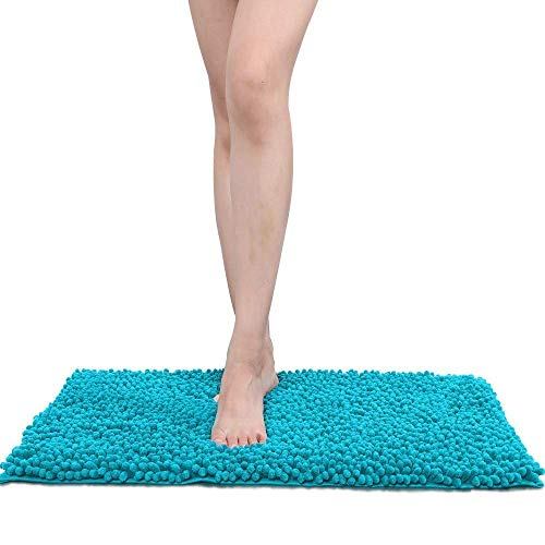 AOI Alfombra de baño de Felpa de Microfibra de Chenilla, Suave y acogedora, Agua súper Absorbente, Antideslizante, Gruesa para Dormitorio de baño (60x40 cm, Lago Azul)