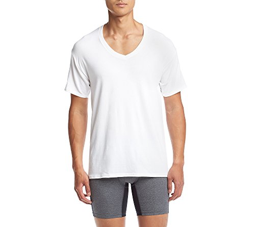 Hanes Ultimate Men's 4-Pack FreshIQ Stretch V-Neck, White, X-Large