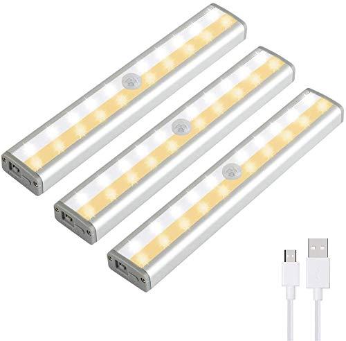 Schrankbeleuchtung mit Bewegungsmelder 20 LED Sensor Licht Schranklicht kleiderschrank Beleuchtung Wiederaufladbare Batteriebetriebene Lichter Aufkleb (3 Stück)
