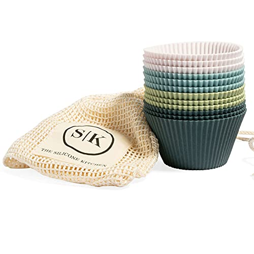 The Silicone Kitchen Reusable JUMBO Silicone Baking Cups - Non-Toxic, BPA Free, Dishwasher Safe (12 Pack, Jumbo)