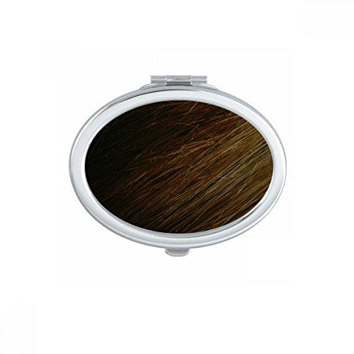 DIYthinker Brun foncé Droit Patterns Cheveux Ovale Maquillage Compact Miroir de Poche Miroirs Mignon Petit Cadeau Portable à la Main Multicolore