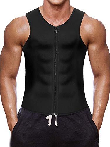 Nebility Men Waist Trainer Vest for Weightloss Hot Neoprene Corset Body Shaper Zipper Sauna Tank Top Workout Shirt (M, Black)