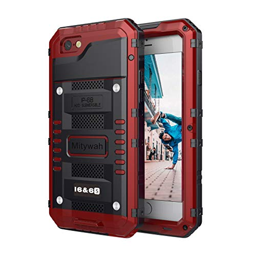 Mitywah Waterproof Case Compatible with iPhone 6 6s Heavy Duty Shockproof Tough Metal Full Body Protective Built-in Screen Protection, Military Grade Rugged Defender Impact Case for 6 / 6s,Red