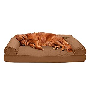 Furhaven Pet Dog Bed – Orthopedic Quilted Traditional Sofa-Style Living Room Couch Pet Bed with Removable Cover for Dogs and Cats, Toasted Brown, Jumbo
