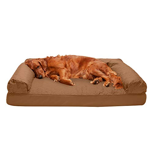 Furhaven Pet Dog Bed - Orthopedic Quilted Traditional Sofa-Style Living Room Couch Pet Bed with Removable Cover for Dogs and Cats, Toasted Brown, Jumbo