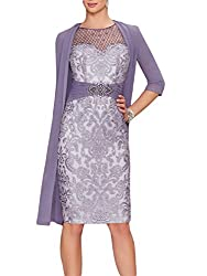 Purple Echo Lace Dress With Rhinestone Belt & Chiffon Jacket