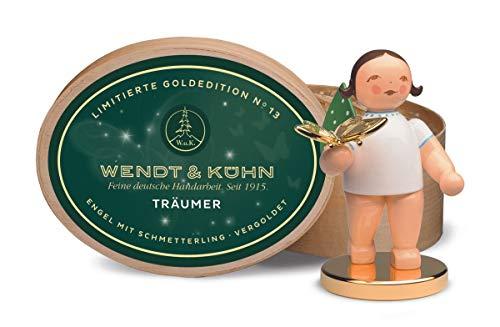 Wendt & Kühn 650/126/LE Träumer, Engel mit Schmetterling auf Metallsockel - in Spanschachtel - Holz, Metall - Höhe 6 cm - blond oder braun kann variieren