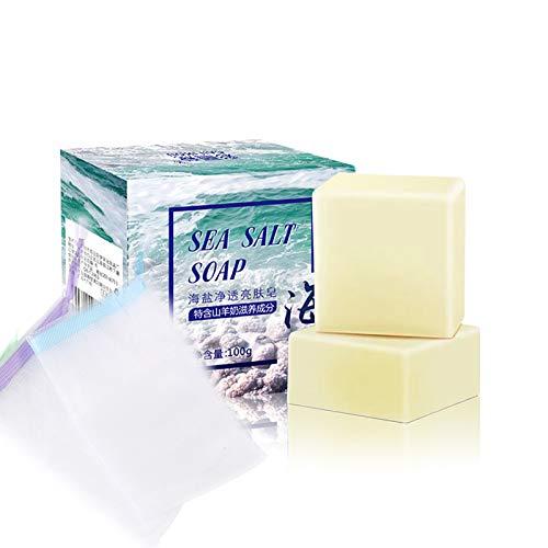 Lilon 2 PCS handgemachte Seife mit Meersalz Natürliche Ziegenmilch für trockenes und natürliches fettiges Gesicht. Entfernen Sie die Aknebehandlung. Feuchtigkeitsspendende Gesichtspflege 200 g