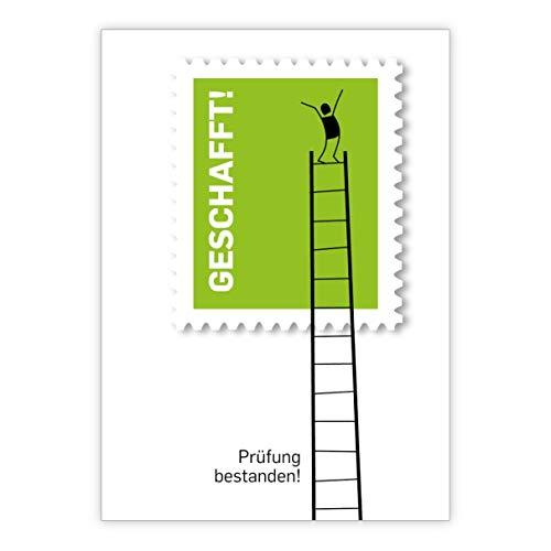 In de set: Motiverende Examens wenskaart met mannetje op ladder: Vergelijk de test doorstaan • love felicitatie cadeaukaart met enveloppen voor vrienden, familie 1 Glückwunschkarte groen