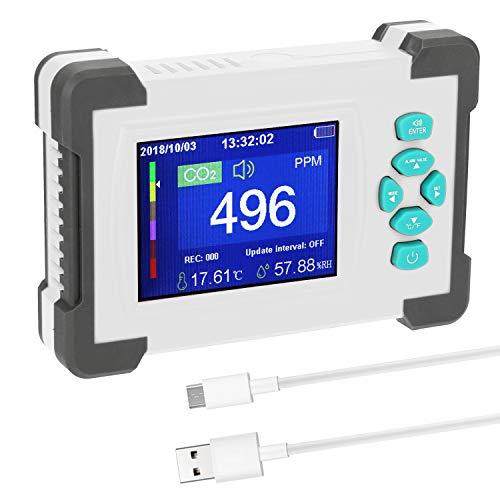 CO2-Messgerät KKmoon Kohlendioxid Detektor mit Akku CO2 Meter Tester für Luftqualitäts Detektor Monitor mit Aufbewahrungskoffer Weiß