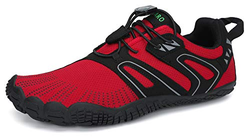 SAGUARO Hombre Mujer Barefoot Zapatillas de Trail Running Escarpines de Deportes Acuaticos Transpirable Calzado Minimalista para Fitness Entrenamiento Gimnasio, Rojo Rubí 42 EU