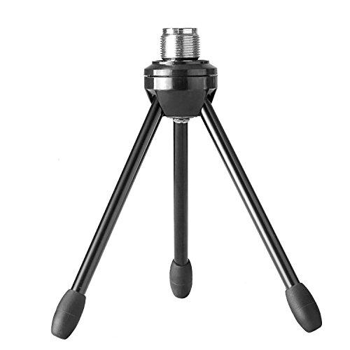 """Neewer Soporte trípode de micrófono de mesa escritorio plegable con patas antideslizantes, construcción duradera de hierro con rosca de montaje 3/8"""" y 5/8"""", negro"""