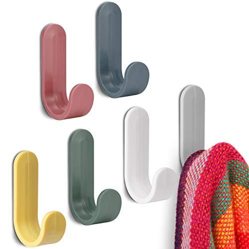 18 PCS Bunte Klebehaken, selbstklebende Wandhaken Klebrige Haken Küchentuchhalter, selbstklebende Handtuchhaken Wandhaken für Garderobe auf Bad, Küche und Zuhause