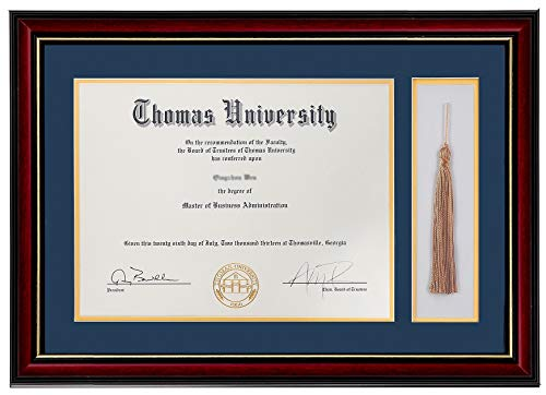 Flagship Diploma Frame with Tassel Shadow Box Real Wood & Glass Golden Rim 11x16 Frame for 8.5x11 Certificate and Document (Double Mat, Navy Blue Mat with Golden Rim) (Normal Tassel)