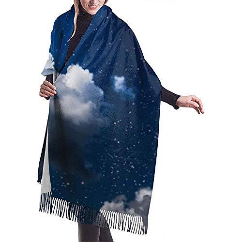 Elaine-Shop Imitate Sciarpa invernale in cashmere Scialle Pashmina Avvolge Coperte Sciarpe Involucro elegante per donna Nuvole lunari Carta da parati cielo scuro