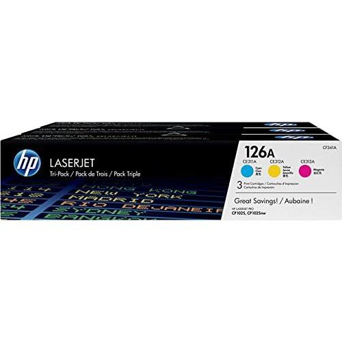 HP 126A CF341A Confezione da 3 Cartucce Toner Originali, Compatibile con Stampanti LaserJet Pro CP1025nw, Pro 100 Color MFP M175a, MFP M175nw, Pro TopShot M275, Pro CP1020, Ciano, Giallo, Magenta