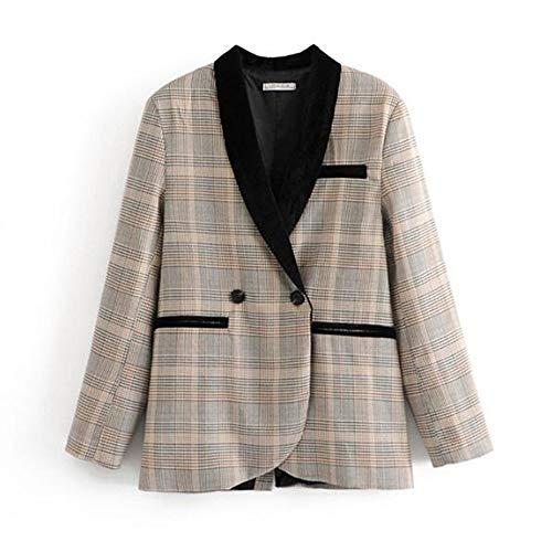 WJMM Damen Blazer Mit Schalkragen Kontrast Karo Blazer Frau Revers Rückenschlitz Slim Fit Loose Suit Jacke Oberbekleidung, L