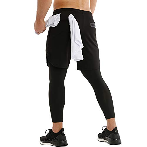 MECH-ENG Men's Running Training 2 in 1 Compression Tights Pants Shorts Workout Gym Legging(Black L/Tag 2XL)