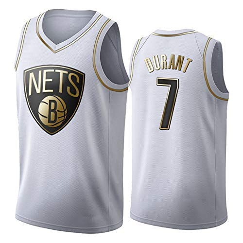 CNMDG Kevin Durant Jersey, Brooklyn Nets 7 # Gold Edition Jersey Fan Youth Swingman Jerseys Impreso Camisetas Deportivas (S-XXL) Blanco-S