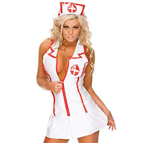 SCHOLIEBEN Infirmiere Cosplay Nurse Costumes Lingerie Erotique Coquine Tenue Sexy InfirmièRe Uniforme DéGuisement pour Party Babydolls Femmes De La SéRie Dos Nu VêTements Club(Blanc,L2)