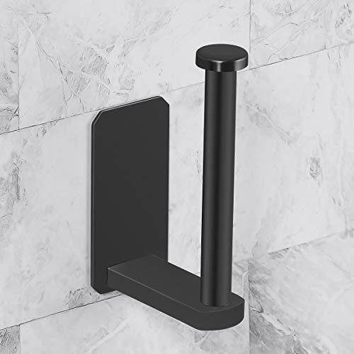 VAEHOLD Toilet Paper Holder Self Adhesive Kitchen Washroom Adhesive Toilet Roll Holder No Drilling for Bathroom Stick on Wall Stainless Steel Brushed - Black