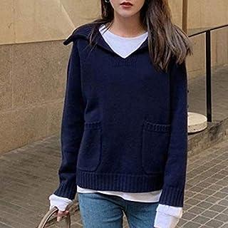 SDJYH suéteres y Jerseys de Mujer Otoño Invierno Jersey de Manga Larga suéter de Punto Informal 3 Colores