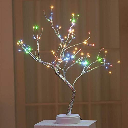 NLRHH Weihnachtsbaum LED USB Tischlampe Kupferdraht Weihnachten Feuer Baum Nachtlicht Tischlampe Home Kinder Schlafzimmer Weihnachten auf einfache Montage (Farbe: 108LED Multicolor) Peng