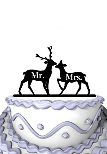 Meijiafei Rustic 2 Deers with Mr and Mrs Wedding Anniversary Cake Topper