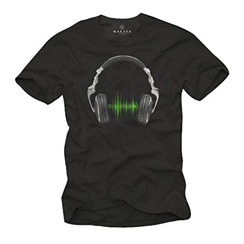 Cooles Musik T-Shirt mit Kopfhörer Electro House schwarz Herren Größe XL