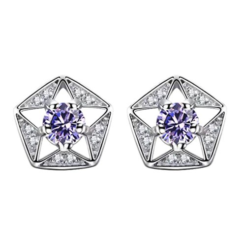 WeiMay Pendientes perforados para mujer, diseño de estrellas, color lila y blanco, platino, joyería de temperamento simple, regalo de San Valentín