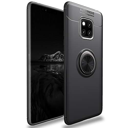 Avalri voor Huawei Mate 20 Pro Case, schok-absorptie anti-cratch dunne 360 graden roterende Ring Kickstand Cover met auto Mount voor Mate 20 Pro, Stand Case, Zwart