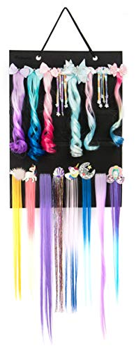 Girl Hair Braided Organizer Storage to Hold Straight Ponytails and Hair Extensions Clip, Hanging Hairpieces Holder for Teens Toddler Kids Girls, Clip in Hair Extensions Wall Mount Display Stand(Black)