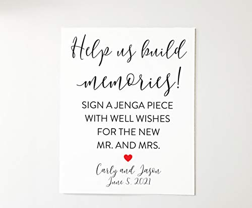 Help us build memories. Please sign a Jenga Piece. 8x10 Wedding Sign. Alternative Guest Book Sign Idea Jenga Sign