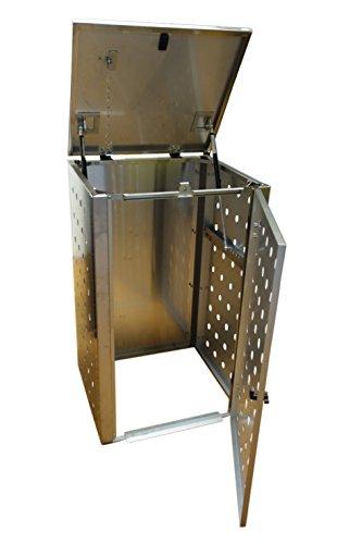 Mülltonnenbox Edelstahl, Modell Eleganza CircB 120 Liter als Zweierbox - 2