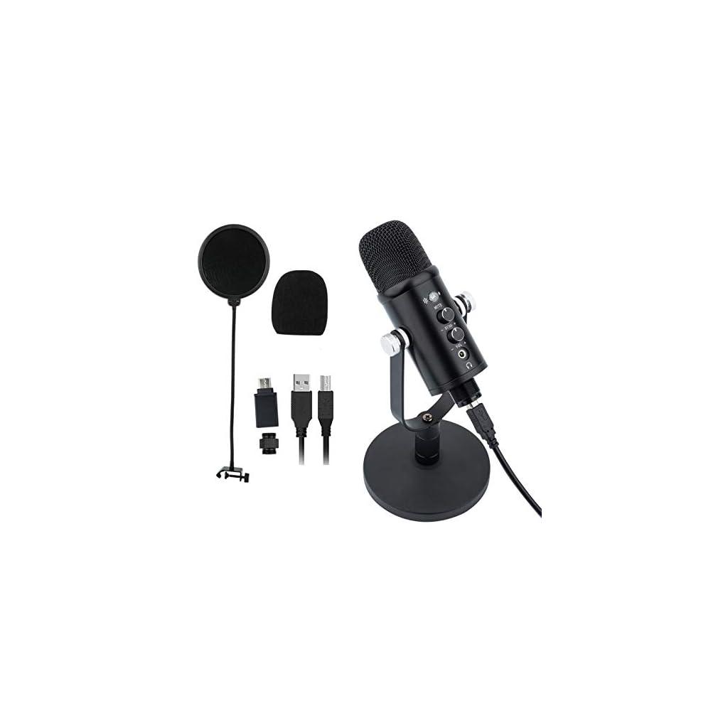 Microfono a condensatore USB da scrivania per streaming (potente funzione di riduzione del rumore, modalità di registrazione superrenale, senza latenza, tasto muto e connettore per cuffie).