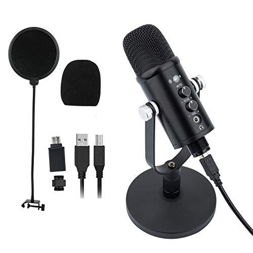 Microfono a condensatore USB da scrivania per streaming (potente funzione di riduzione del rumore, modalità di registrazione superrenale, senza latenza, tasto muto e connettore per cuffie)