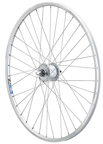 Vuelta 26 Zoll Fahrrad Laufrad Vorderrad Hohlkammerfelge Cut 19 Shimano Nabendynamo DHC30003 Vollachse Silber für V-Brakes/Felgenbremse