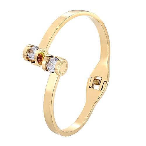 Doble número Romano Cristal Mujer Pulseras Brazalete Brazalete de Acero Inoxidable Brazalete de Oro