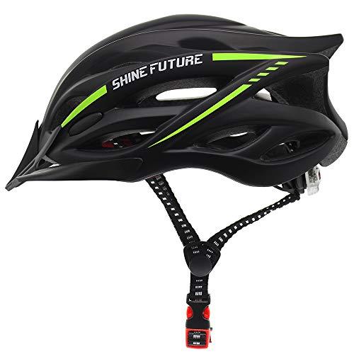 Fahrradhelm für Erwachsene, verstellbare leichte Fahrradhelme für Männer und Frauen, Rennrad- und Mountainbike-Helm mit abnehmbarem Visier und LED-Rücklicht (Schwarz + Gelb)
