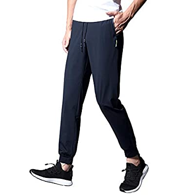 ENGEALLRR Men's Training Joggers Quick-Dry Breathable Hiking Sweatpants Lightweight Workout Pants with Zipper Pockets(GX3509BLUE-M)