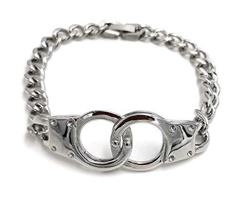 Mijn glitterwereld roestvrij staal handboeien armband mannensieraad handcuffs 20cm