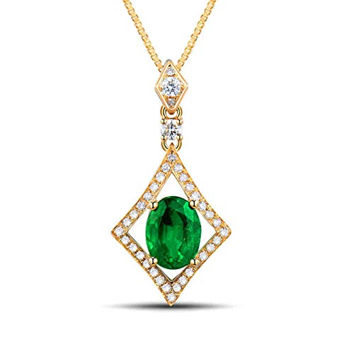 AtHomeShop Real Gold Collection, 18K Yellow Gold Necklace, Rhombus Shape Y-Chain with Sparkling 1.3ct Oval Emerald and Diamond Pendant for Fiancee Proposal Marriage Yellow Gold