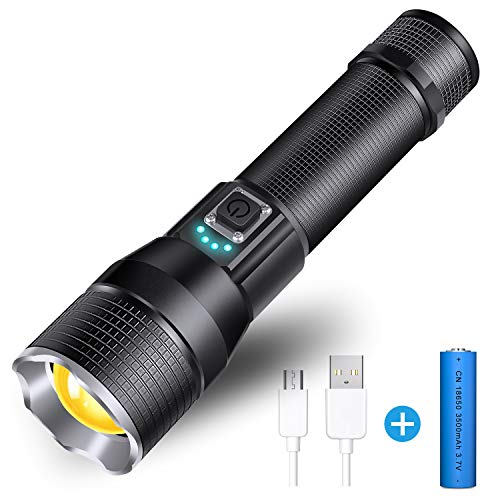 Rechargeable LED Flashlight, Waterproof Flashlight High Lumen Super Bright Pocket-Sized, 5 Modes, for Camping, Biking, Walking, Outdoor or Gift-Giving (Battery Included) (TM235)