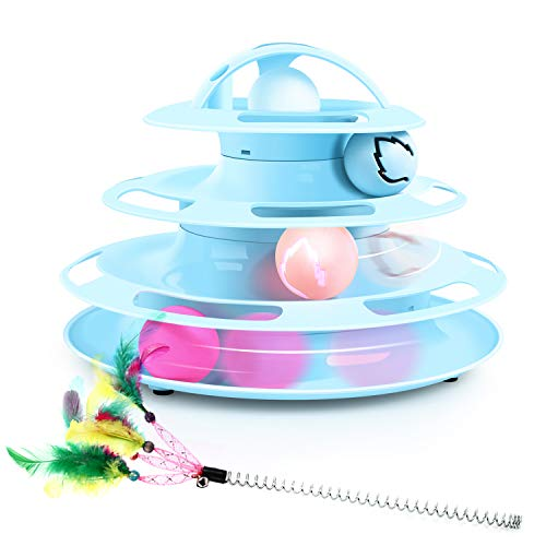 Pecute Jouets Chat 2 en 1, Jouet Labyrinthe Chats 4 Couches,...