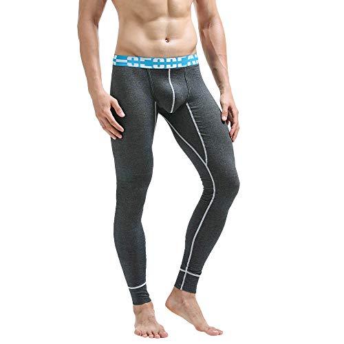 Napoo Best Thermal Pants for Men Winter Warm Base Layer Bottoms Mens Long Johns Leggings 100% Cotton Underwear (Dark,L)