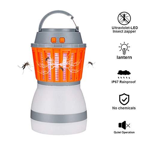 upstartech Campinglampe Mückenlampe insektenvernichter 2 in 1 UV mücken Killer IPX6 wasserdicht tragbar Abnehmbarem Silikonlampenschirm Versenkbarer Haken USB Wiederaufladbar für Innen Außen (Orange)