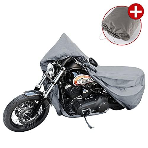 Walser 41090 Motorradgarage Chopper Gr. L, Abdeckplane PVC - 250x100x130cm grau, Motorradabdeckung, Motorradplane wasserdicht, Motorrad Schutzplane