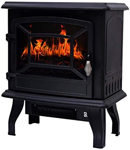 AJH Electric Fireplace, 1400W Electric Freestanding Flame Fireplace - With Wood Burner Flame Effect - For Home And Office