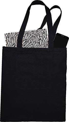 Natural Cotton Canvas Tote Bags Bulk Plain Fabric for Crafts, DIY, Vinyl, Decorate, Shopping, Groceries, Teacher, Books, Gifts, Welcome Bag, Diaper Bag, Beach (Black, 12)